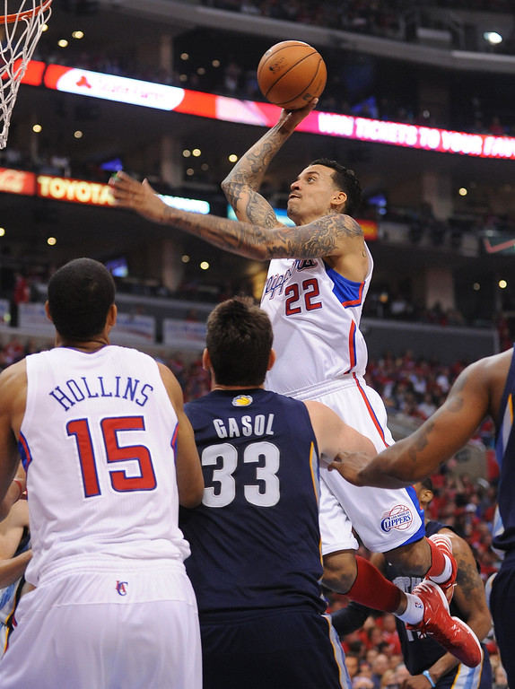 . Clippers forward Matt Barnes dunks the ball against the Memphis Grizzlies during game 2 of the 2013 NBA Western Conference Playoffs April 22, 2013 in Los Angeles, CA.(Andy Holzman/Staff Photographer)