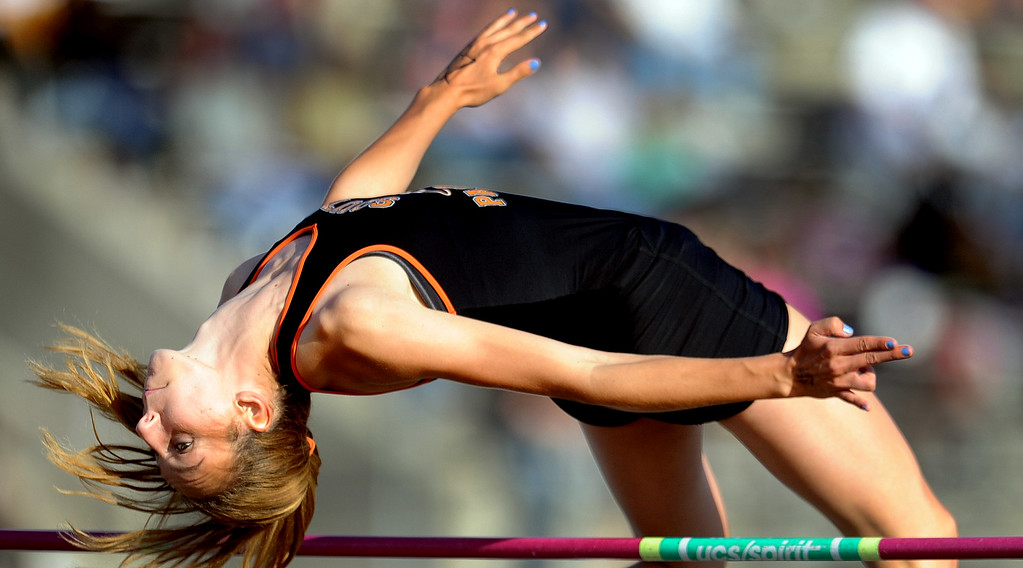 . South Pasadena\'s Claire Kieffer-Wright in the high jump during the CIF-SS Masters Meet at Cerritos College on Friday, May 24, 2013 in Norwalk, Calif.  (Keith Birmingham Pasadena Star-News)