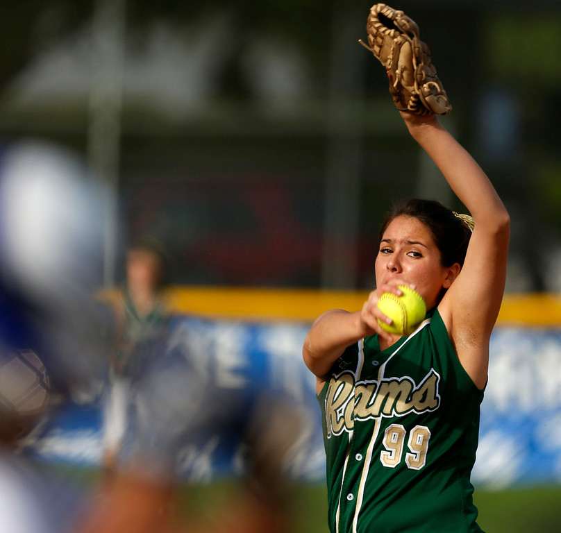. Elisa Ponce of Temple City High School pitches during a softball game against San Marino High School at San Marino High School in San Marino, March 19, 2013. (Correspondent photo by Larry Goren/Sports)