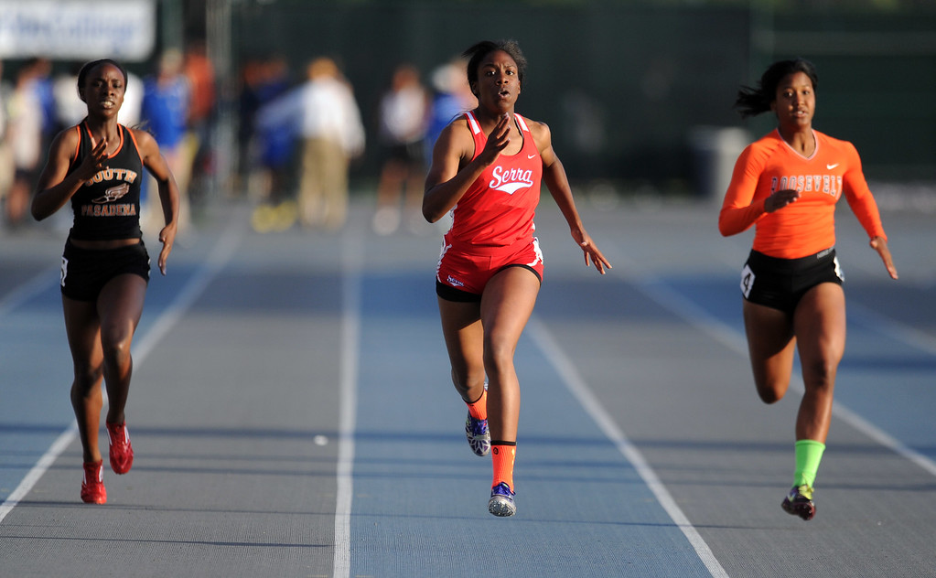. Serra\'s Chimere Ezumah in the 400 meter dash during the CIF-SS Masters Meet at Cerritos College on Friday, May 24, 2013 in Norwalk, Calif.  (Keith Birmingham Pasadena Star-News)