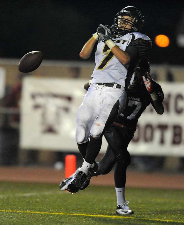 . West High takes on Torrance in a non league football game at Zamperini Stadium in Torrance, CA on Thursday, September 12, 2013. West\'s Kurtis Guelff is unable to hold onto this pass to him in the end zone. (Photo by Scott Varley, Daily Breeze)