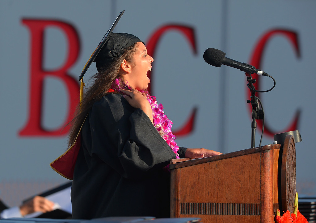 . Jalyn Alexander delivers her valedictorian address to Long Beach City College\'s class of 2014 at Veterans Memorial Stadium in Long Beach, CA on Thursday, June 5, 2014. (Photo by Scott Varley, Daily Breeze)