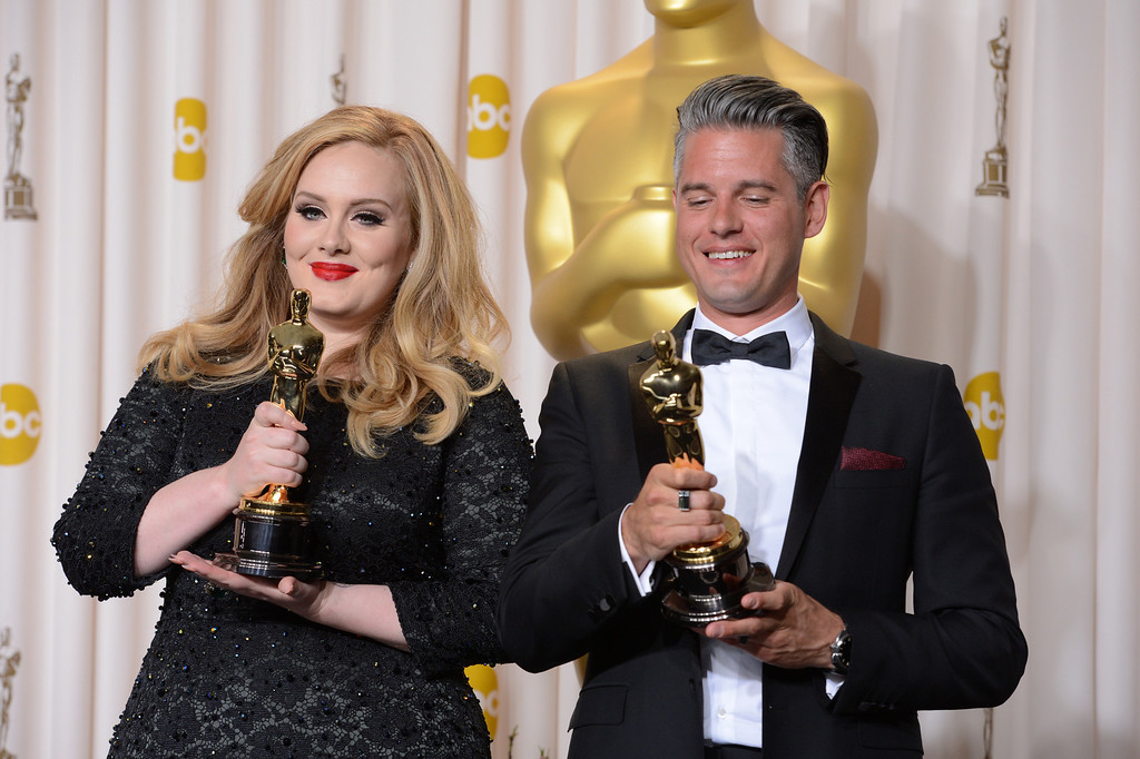 """. Singer Adele, left, and musician/producer Paul Epworth won the award for best original song for \""""Skyfall\"""" from \""""Skyfall\""""backstage at the 85th Academy Awards at the Dolby Theatre in Los Angeles, California on Sunday Feb. 24, 2013 ( David Crane, staff photographer)"""