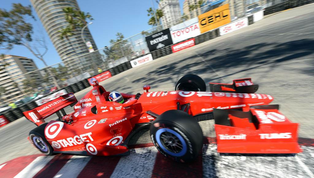 . (Will Lester/Staff Photographer)  Indycar driver Dario Franchitti drives through the hairpin during the Friday afternoon practice session April 19, 2013 at the 39th annual Toyota Grand Prix of Long Beach.