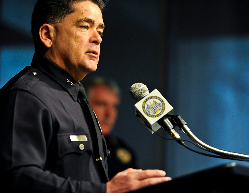 . LAPD Deputy Chief Jose Perez speaks about the search for fugitive ex-LAPD officer Christopher Dorner at a press conference at the D.A.\'s office in Riverside on Monday, Feb. 11, 2013. (Rachel Luna / Staff Photographer)