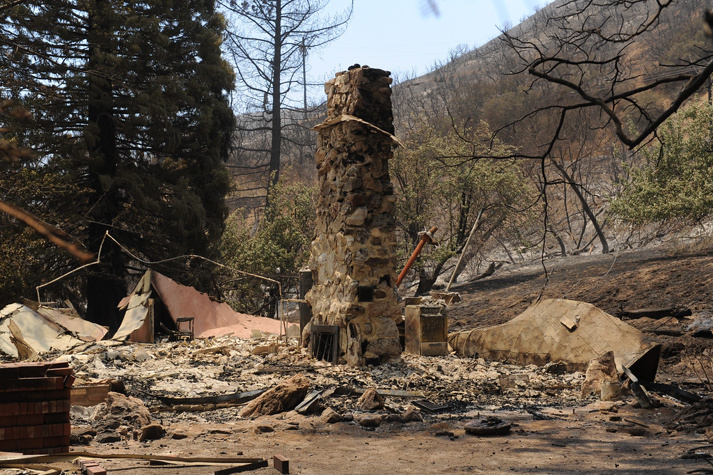 . A burnt house in the 43300 block of Lake Hughes Road from the Powerhouse Fire, Sunday, June 2, 2013. (Michael Owen Baker/Staff Photographer)