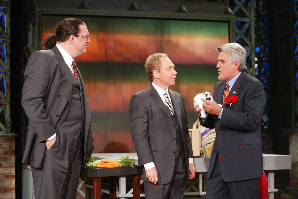 """. Penn and Teller at \""""The Tonight Show with Jay Leno\"""" at the NBC Studios in Burbank, Ca. Thursday, Sept. 19, 2002. Photo by Kevin Winter/ImageDirect"""