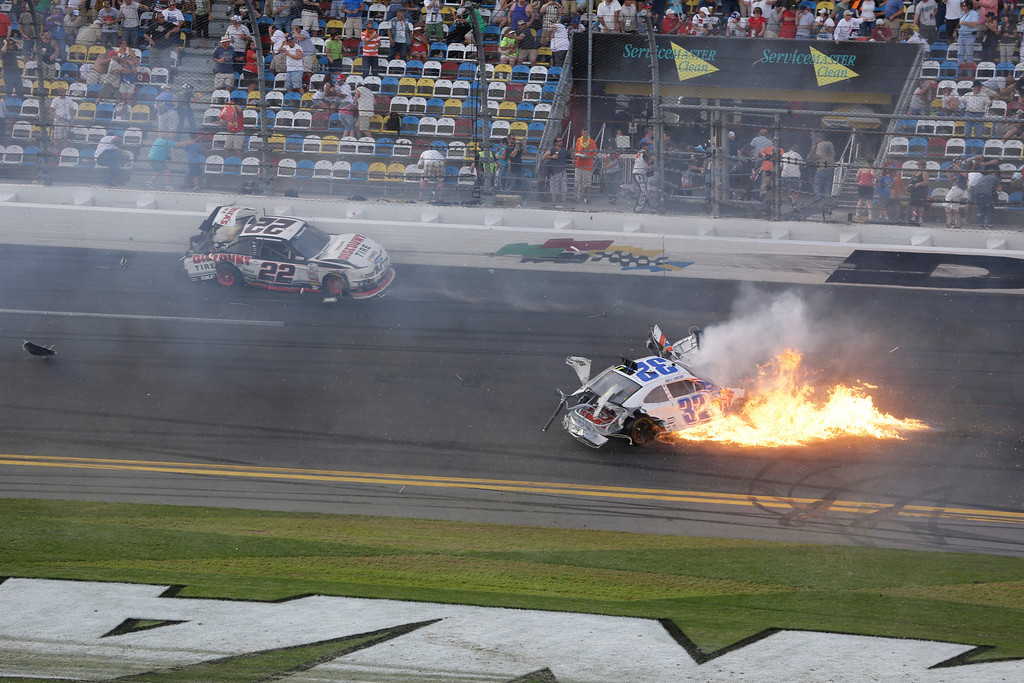 . Kyle Larson (32) crashes at the conclusion of the NASCAR Nationwide Series auto race Sunday, Feb. 24, 2013, at Daytona International Speedway in Daytona Beach, Fla. (AP Photo/Chris O\'Meara)