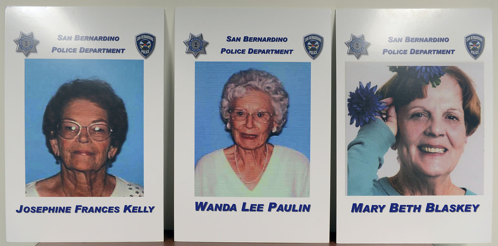 Description of . The photos of murder victims Josephine Kelly, from the left, Wanda Paulin and Mary Blaskey are displayed at a press conference where San Bernardino police announced the arrest of Jerome Anthony Rogers, 55, of San Bernardino in the killing of Mary Beth Blaskey, said San Bernardino police Chief Robert Handy. Handy said investigators suspect there is at least one other person involved in the slaying. Rick Sforza/Staff photographer