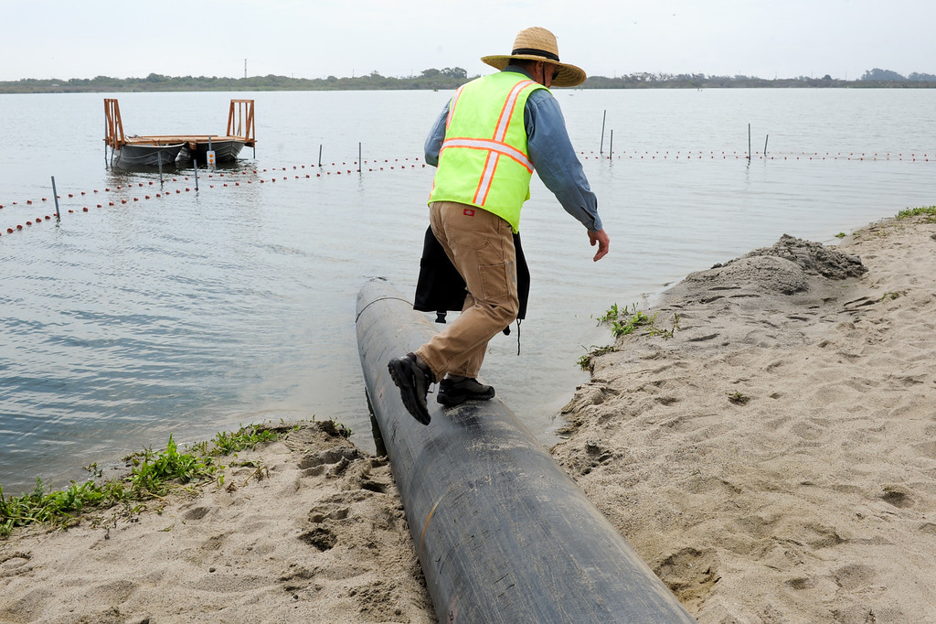 . Carl Page, a fisheries biologist with Rincon Consulting, walks over a pipe that will drain 32 inches of water from the Santa Clara River estuary which has flooded the campground at McGrath State Beach Park in Oxnard, Monday, July 22, 2013. (Michael Owen Baker/L.A. Daily News)
