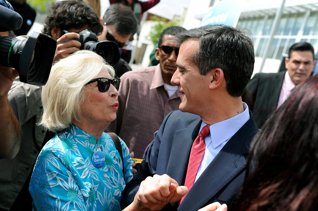 . Irene Wongpec(cq), of Eagle Rock, greets mayoral candidate Eric Garcetti following a press conference at Van de Kamp\'s Innovation Campus in Los Angeles, Wednesday, March 6, 2013. (Michael Owen Baker/Staff Photographer)