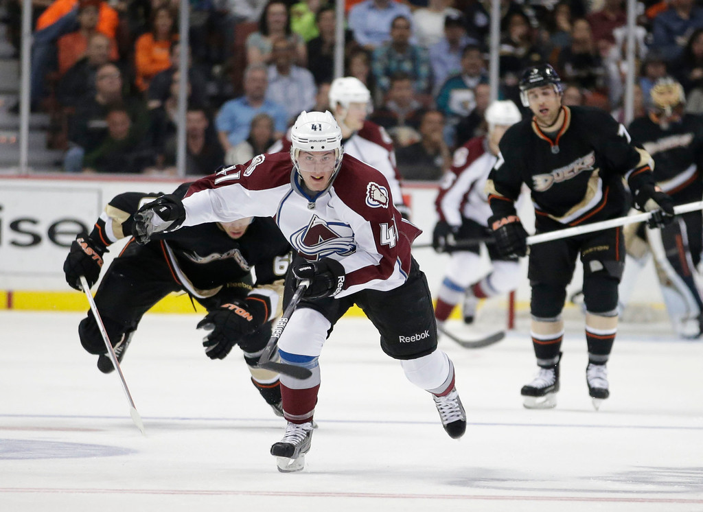. Colorado Avalanche\'s Tyson Barrie skates during the second period of an NHL hockey game against the Anaheim Ducks in Anaheim, Calif., Wednesday, April 10, 2013. (AP Photo/Jae C. Hong)