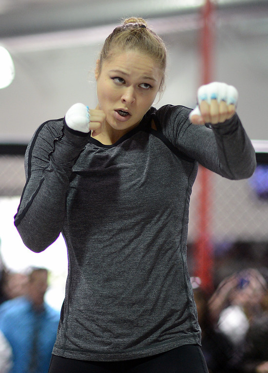 . UFC fighter Ronda Rousey during an open workout at the UFC Gym in Torrance, CA Wednesday, February 20, 2013. (Hans Gutknecht/Staff Photographer)