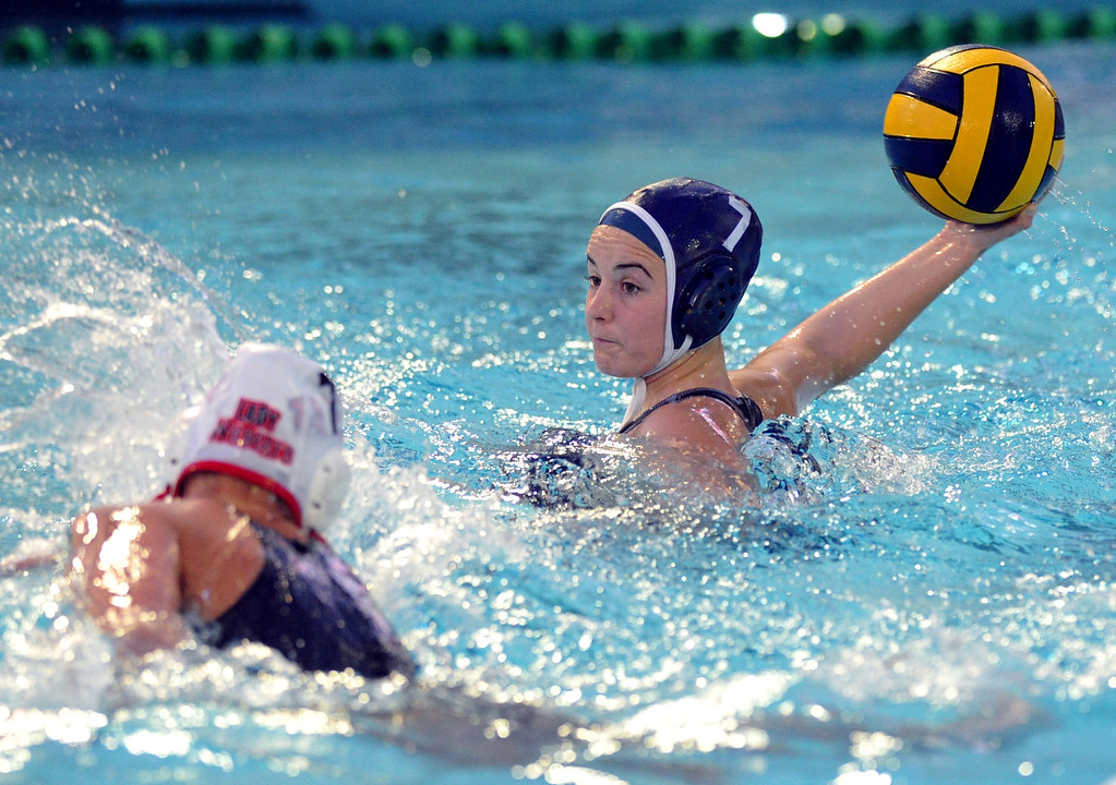 Description of . Crescenta Valley's Breanna Lawton (#7) tries for a goal as they play Redlands East Valleyin the Southern Section Div. V semifinals girls water polo game at Whittier College's Lillian Slade Aquatics Center on Wednesday February 20, 2013. Crescenta Valley beat Redlands East Valley 14-4. (Staff photo by Keith Durflinger)