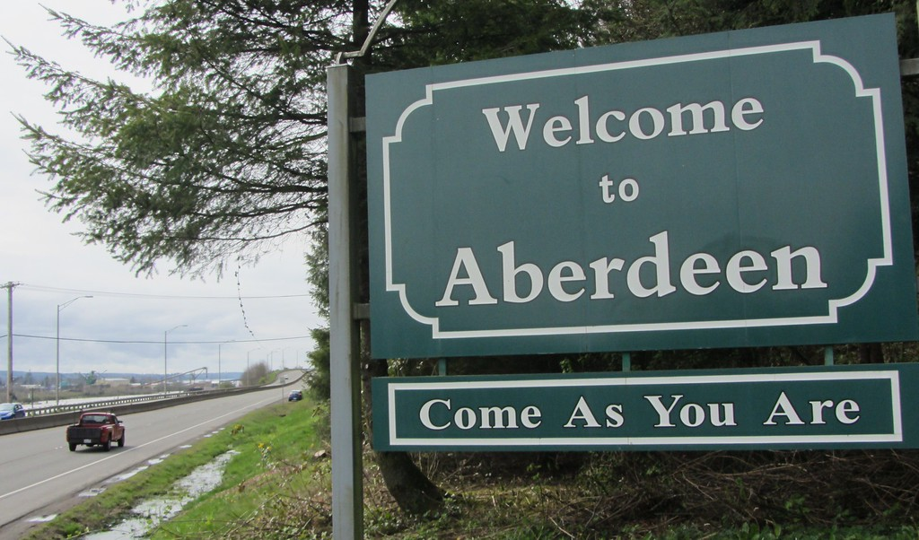 . The welcome sign to Aberdeen, Washington, is seen on April 1, 2014 along with the title of a Nirvana song. Nirvana fans prepare to mark the 20th anniversary of the band\'s frontman Kurt Cobain\'s suicide on April 5.          (Michael THURSTON/AFP/Getty Images)