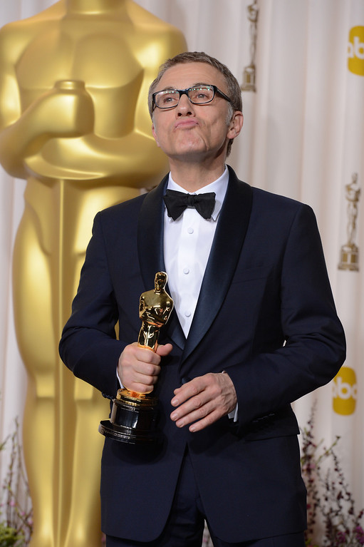 Description of . Best Performance by an Actor in a Supporting Role winner Christoph Waltz backstage at the 85th Academy Awards at the Dolby Theatre in Los Angeles, California on Sunday Feb. 24, 2013 ( David Crane, staff photographer)