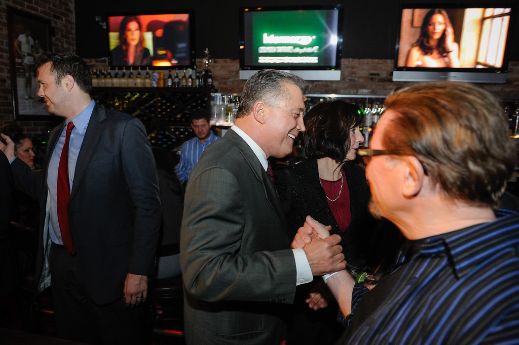. Carmen Trutanich greets supporters in his race for Los Angeles City Attorney 2013, Tuesday, March 5, 2013, at Rocco\'s Tavern in Studio City. (Michael Owen Baker/Staff Photographer)