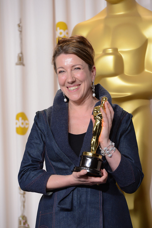 """. Jacqueline Durran accepts the award for best costume design for \""""Anna Karenina\""""backstage at the 85th Academy Awards at the Dolby Theatre in Los Angeles, California on Sunday Feb. 24, 2013 ( David Crane, staff photographer)"""