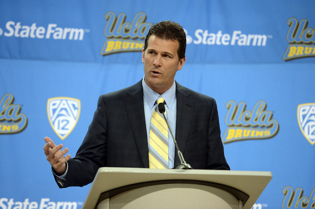 . UCLA\'s new men\'s basketball coach Steve Alford speaks during during a press conference at Pauley Pavillion on the UCLA campus Tuesday, April 2, 2013. (Hans Gutknecht/Staff Photographer)