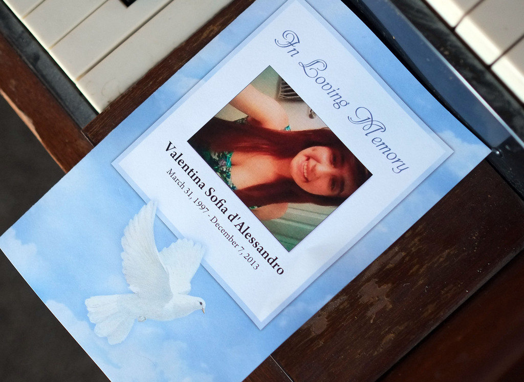 . Funeral services were held for Torrance High student Valentina d\'Alessandro Wednesday, December 11, 2013, in Torrance, CA. D\'Alessandro was killed in a traffic collision in Wilmington Saturday. Photo by Steve McCrank/DailyBreeze