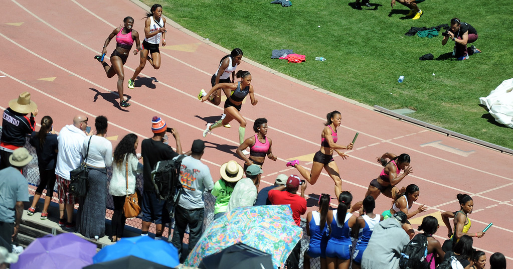 Description of . Athletes including Olympian Alyson Felix compete in the 4x100 Invitational Elite during the Mt. SAC Relays in Hilmer Lodge Stadium on the campus of Mt. San Antonio College on Saturday, April 20, 2012 in Walnut, Calif.    (Keith Birmingham/Pasadena Star-News)
