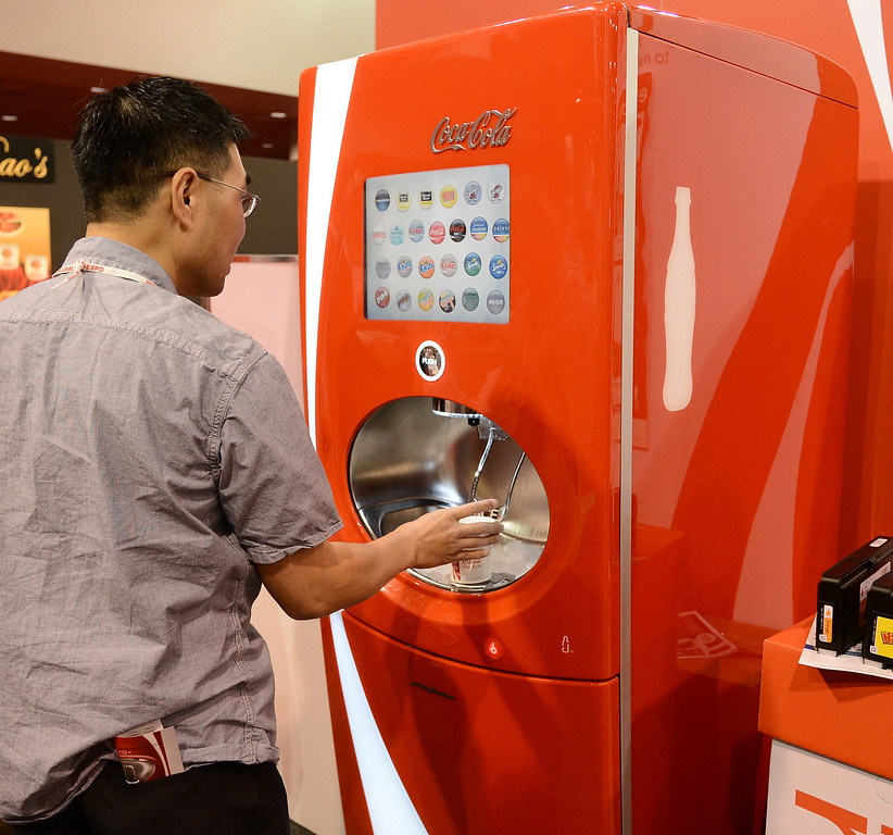 . March 19,2013. Las Vegas NV. USA. Coca-Cola shows their new soft drink machine that offers up to 24 different kinds of drinks from one machine, during the 2013 International Pizza Expo. Photo by Gene Blevins/LA DailyNews