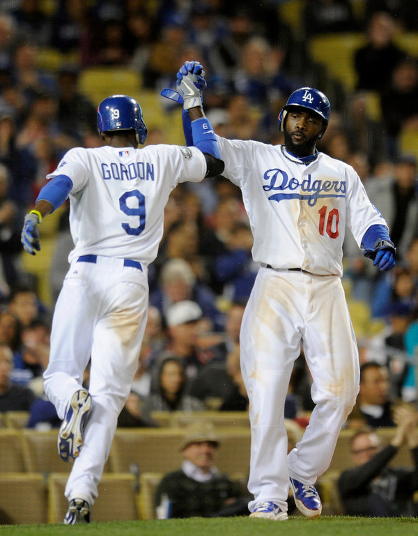 . Dodgers#9 Dee Gordon grounded out to score Dodgers#10 Tony Gwynn Jr. in the 5th inning. The Los Angeles Dodgers played the Atlanta Braves in a game at Dodger Stadium in Los Angeles, CA 4/25/2012(John McCoy/Staff Photographer)