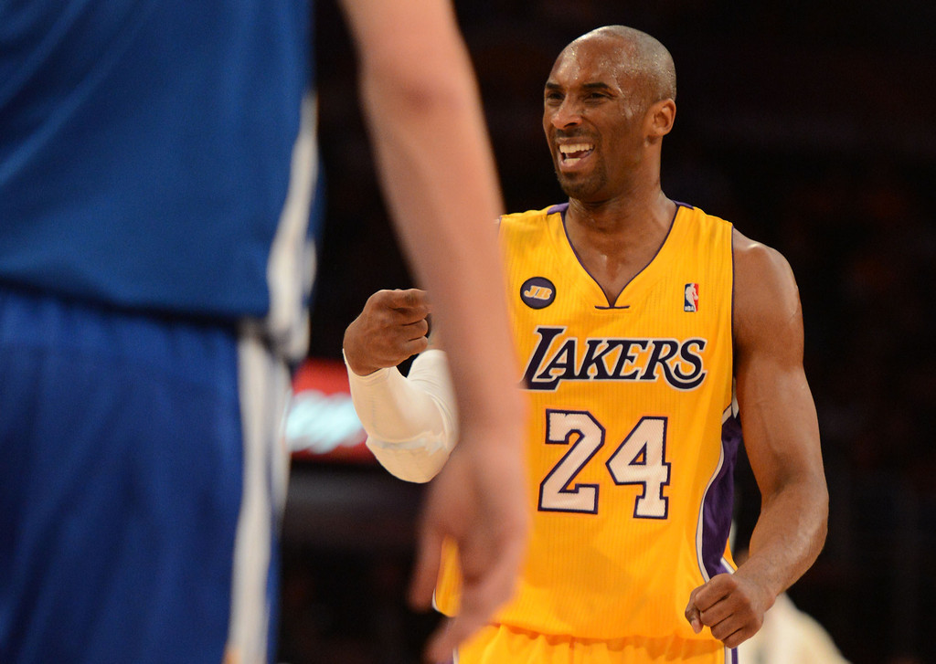 . The Lakers\' Kobe Bryant #24 reacts during their game against the Warriors at the Staples Center in Los Angeles Friday, April 12, 2013. (Hans Gutknecht/Staff Photographer)
