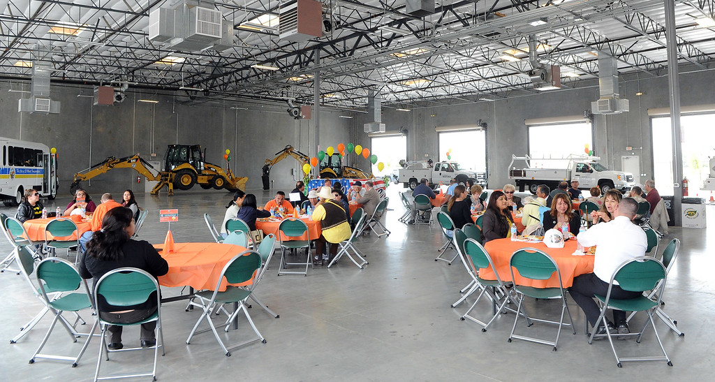Description of . Employees enjoy lunch during the grand opening of the state-of-the-art Public Works and Transportation Yard at the El Monte Public Works & Transportation Yard on Thursday, April 25, 2012 in El Monte, Calif.    (Keith Birmingham/Pasadena Star-News)