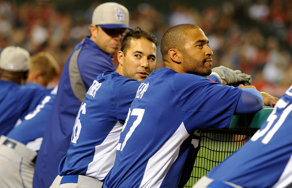 . Los Angeles Dodgers\' Andre Ethier, left, with Matt Kemp in the seventh inning of a spring baseball game against the Los Angeles Angels on Thursday, March 28, 2012 in Anaheim, Calif.   (Keith Birmingham/Pasadena Star-News)