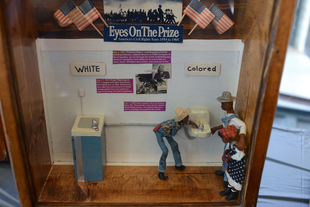 . A miniature by Karen Collins, Los Angeles award-winning artist, on display at the Bautista de Anza Park Community Center in Calbasas as part of Black History month.  Photo by David Crane/Staff Photographer