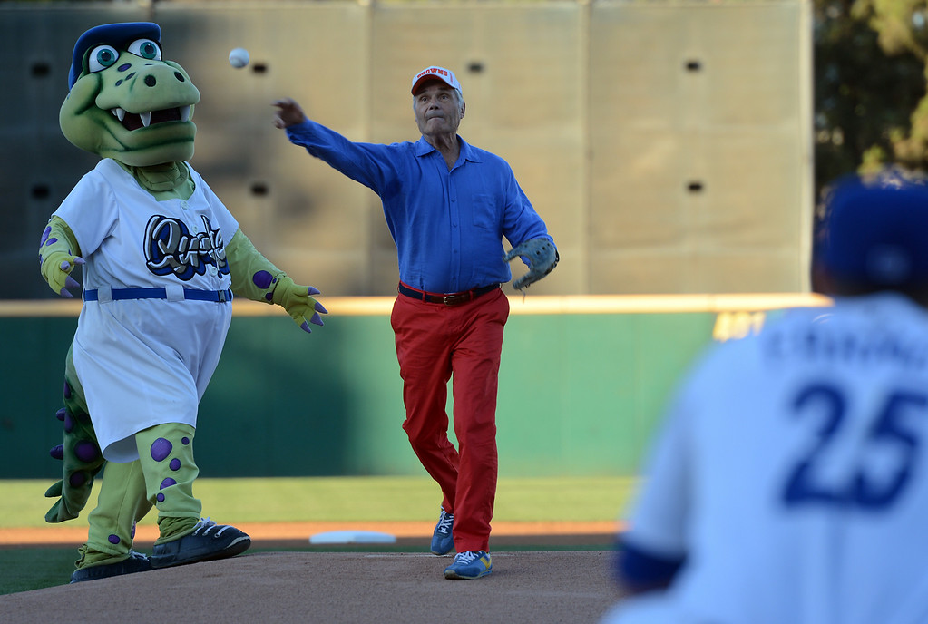 Description of . Actor Fred Willard throws out the first pitch at the Quakes game at LoanMart Field in Rancho Cucamonga, CA, Friday, August 15, 2014. (Photo by Jennifer Cappuccio Maher/Inland Valley Daily Bulletin)