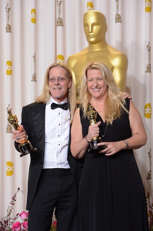""". Per Hallberg and Karen Baker Landers accept the award for best sound editing for \""""Skyfall\"""" backstage at the 85th Academy Awards at the Dolby Theatre in Los Angeles, California on Sunday Feb. 24, 2013 ( David Crane, staff photographer)"""