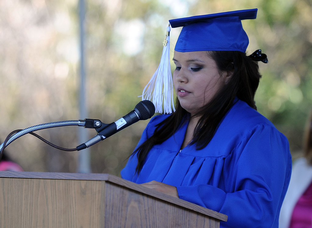 Description of . Victoria Castaneda gives the student address during the El Camino High School commencement at El Camino High School on Wednesday, June 19, 2013 in Whittier, Calif.  (Keith Birmingham/Pasadena Star-News)