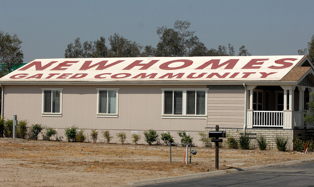 . A sign on the roof of an office at Oakridge Mobile Home Park in Sylmar, Tuesday, April 23, 2013. (Michael Owen Baker/Staff Photographer)