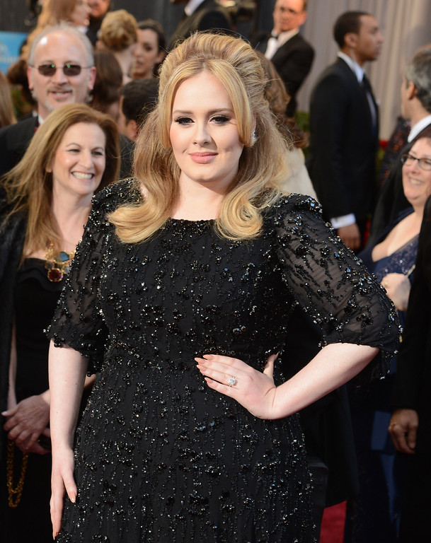 . Adele arrives at the 85th Academy Awards at the Dolby Theatre in Los Angeles, California on Sunday Feb. 24, 2013 ( Hans Gutknecht, staff photographer)