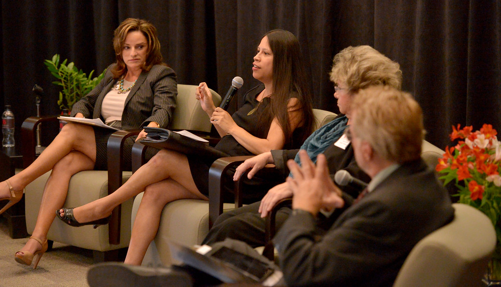 . L. A. Chamber of Commerce VP Alma Salazar, center, participates in a forum to discuss report on higher education at Long Beach City College on Wednesday, April 30, 2014. (Photo by Scott Varley, Daily Breeze)