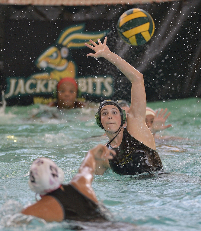 . LONG BEACH, CALIF. USA -- Poly\'s Savannah Steffen (15) tries to block a shot from San Clemente\'s June Huston (12) during their CIF-SS first round game in Long Beach, Calif. on February 12, 2013. Poly lost to San Clemente, 7 to 6. Photo by Jeff Gritchen / Los Angeles Newspaper Group