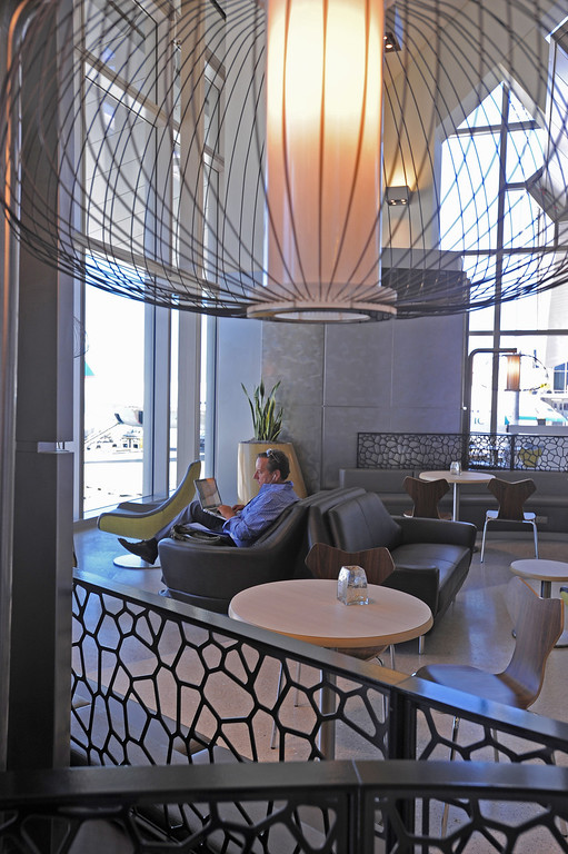. A nice place to sit. Media preview of the new Tom Bradley International Terminal at LAX.  Photo by Brad Graverson 6-20-13