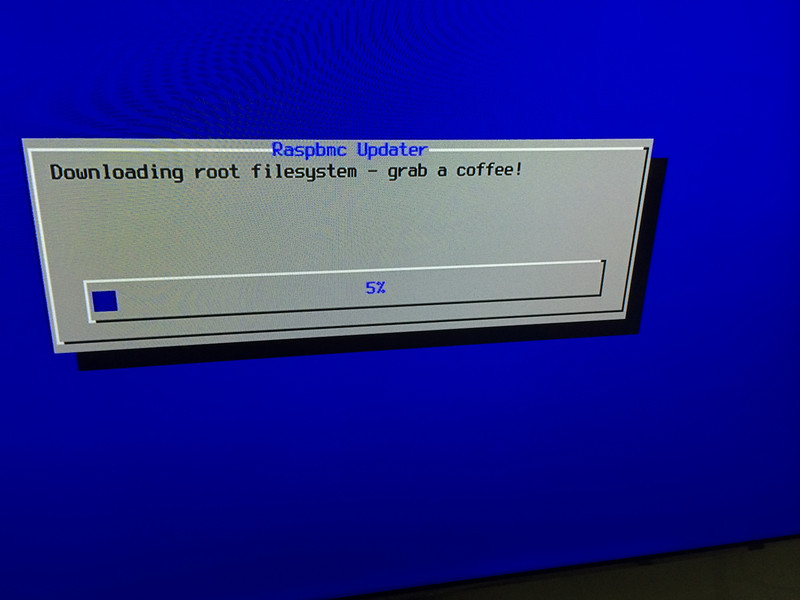 Raspberry Pi Raspbmc downloading ROOT FILESYSTEM