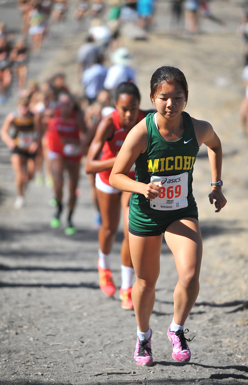 . Peninsula High hosted a Bay League cross country meet in Palos Verdes Estates, CA on Thursday, September 26, 2013.  Mira Costa\'s Abby Hong leads near the 1-mile mark and went on to win. (Photo by Scott Varley, Daily Breeze)