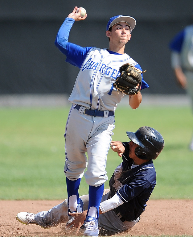 Description of . Charter Oak's Nick Glick (1) forces out Duarte's Pablo Lopez (C) at second base in the sixth inning of the Championship game of the Gladstone Baseball Tournament at Gladstone High School on Wednesday, April 3, 2013 in Covina, Calif. Charter Oak won 5-3. (Keith Birmingham Pasadena Star-News)