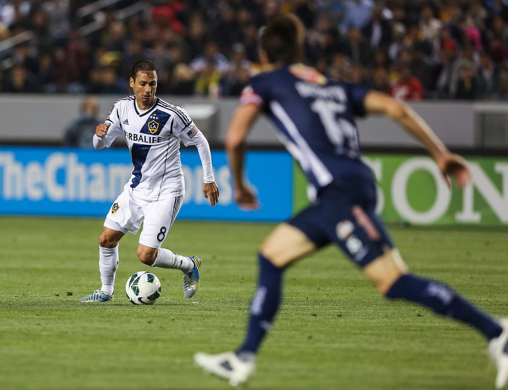 . Los Angeles Galaxy midfielder Marcelo Sarvas during the CONCACAF Champions League semifinal, Wednesday, April 3, 2013, in Carson, Calif. Monterrey won 2-1. (AP Photo/Bret Hartman)