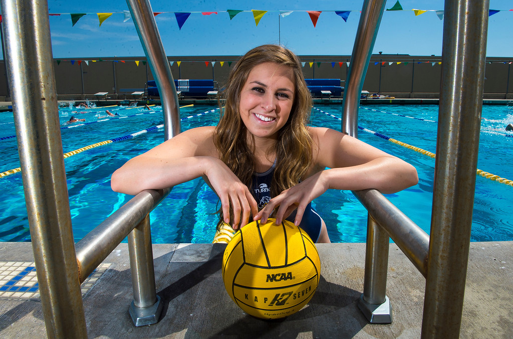 Description of . Kristen Jensen of Los Osos High School, is the Player of the Year and has been named to the Daily Bulletin's All-Valley Girl's water polo team. Photo by Frank Perez, for the Daily Bulletin.