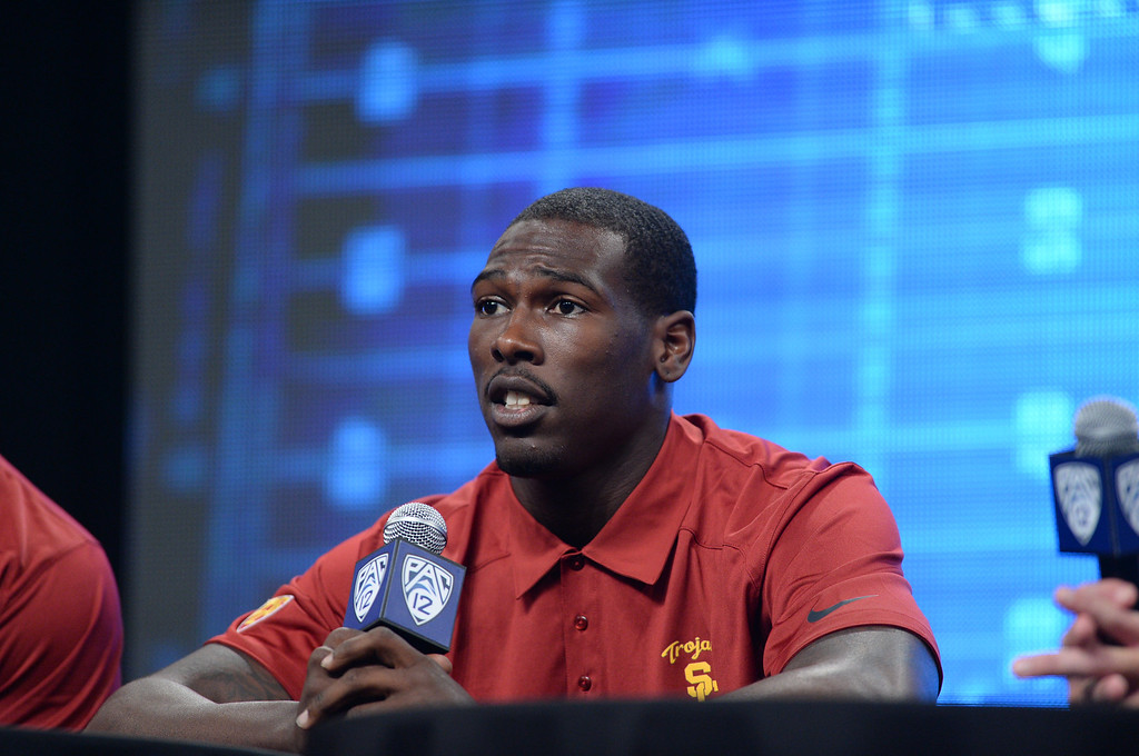 . USC Marqise Lee (WR). Pac12 media Day at Sony Studios.  Photo by Brad Graverson 7-26-13