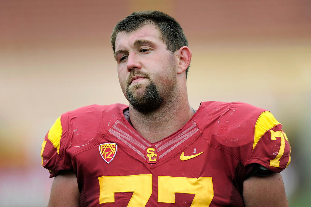 . Tackle Kevin Graf at USC\'s Spring Football Game. (Michael Owen Baker/Staff Photographer)