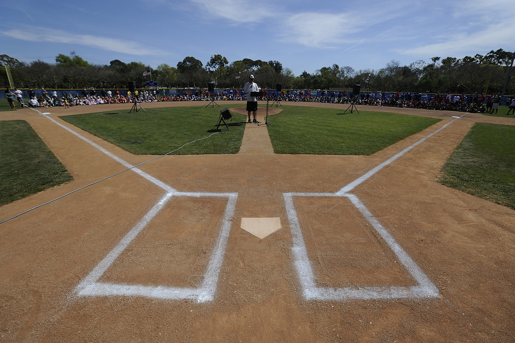 . LONG BEACH, CALIF. USA -- The Los Altos Youth Baseball and Softball league president, Dwayne Fowler, address players during opening ceremonies at El Dorado Park in Long Beach, Calif. on March 2, 2013.  Photo by Jeff Gritchen / Los Angeles Newspaper Group