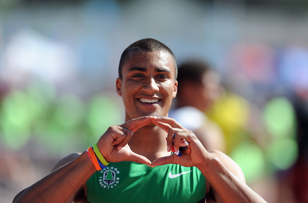 Description of . Ashton Eaton after finishing third in the 110 meter hurdles invitational elite during the Mt. SAC Relays in Hilmer Lodge Stadium on the campus of Mt. San Antonio College on Saturday, April 20, 2012 in Walnut, Calif.    (Keith Birmingham/Pasadena Star-News)