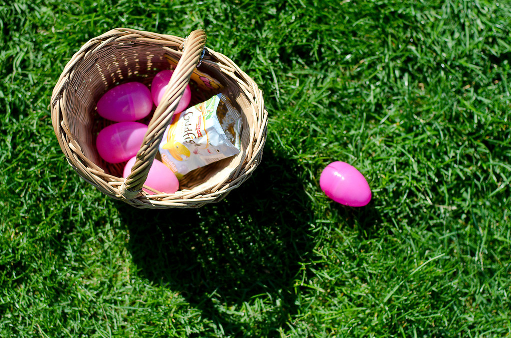 . A basket of Easter eggs sits on the grass at City of Diamond Bar\'s Easter Egg Hunt, hosted by the Diamond Bar Breakfast Lions Club at Pantera Park, in Diamond Bar, Calif., Saturday, March 30, 2013.Children were handed Easter eggs, prizes and candy were made available to children. (SGVN/Correspondent photo by Anibal Ortiz)