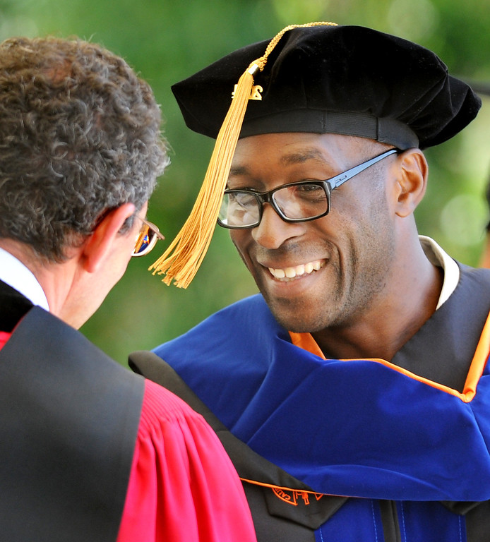 . Caltech President Dr. Edward Stolper  congratulates Geoffrey Lovely who recieved Doctor of Philosophy degree in Biochemistry and Molecular Biophysics at the 120th Annual Commencement at California Institute of Technology Friday, June 13, 2014.(Photo by Walt Mancini/Pasadena Star-News)